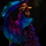Belly dance with silk veil