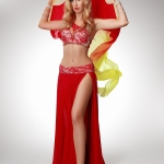 Belly dance with silk fan veils